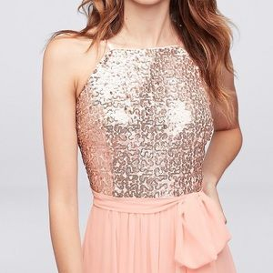 Floor Length Pink Sequin Prom Dress with Sash NWT